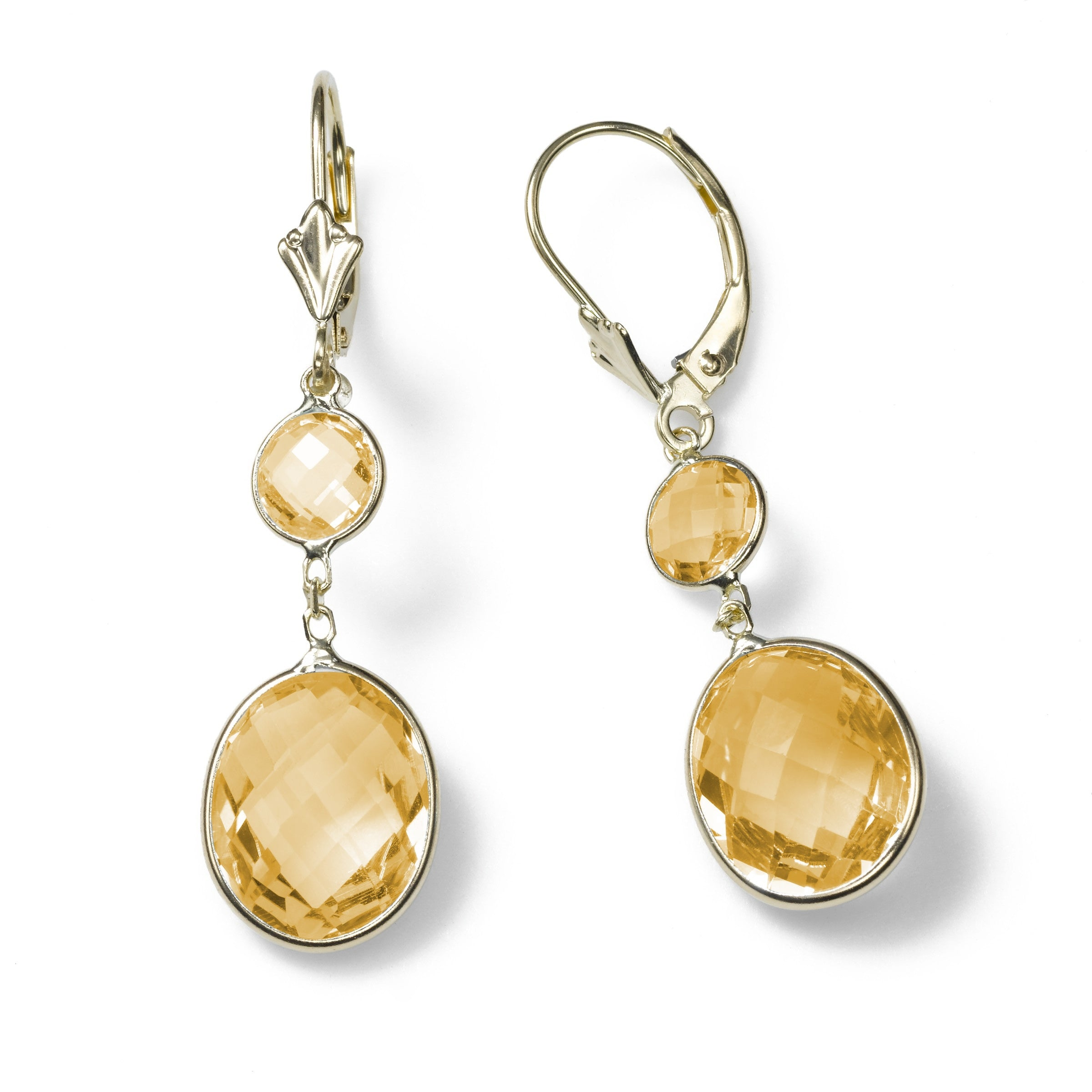 Citrine Drop Earrings, 14K Yellow Gold