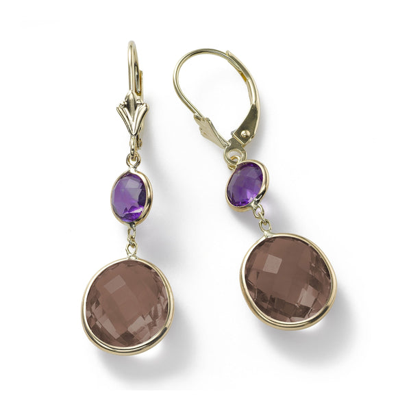 Amethyst and Smoky Quartz Drop Earrings, 14K Yellow Gold