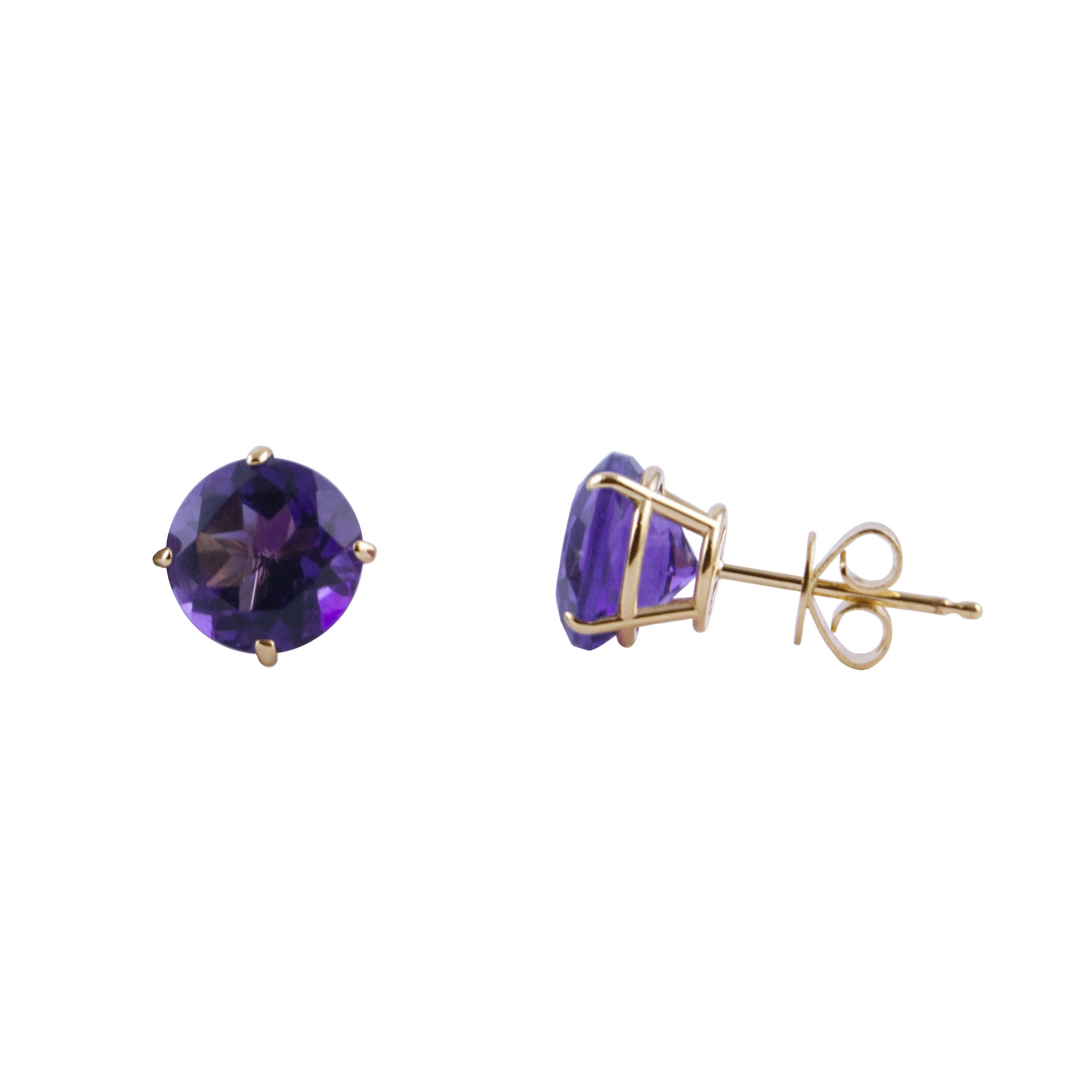 Round Amethyst Stud Earrings, 7MM, 14K Yellow Gold