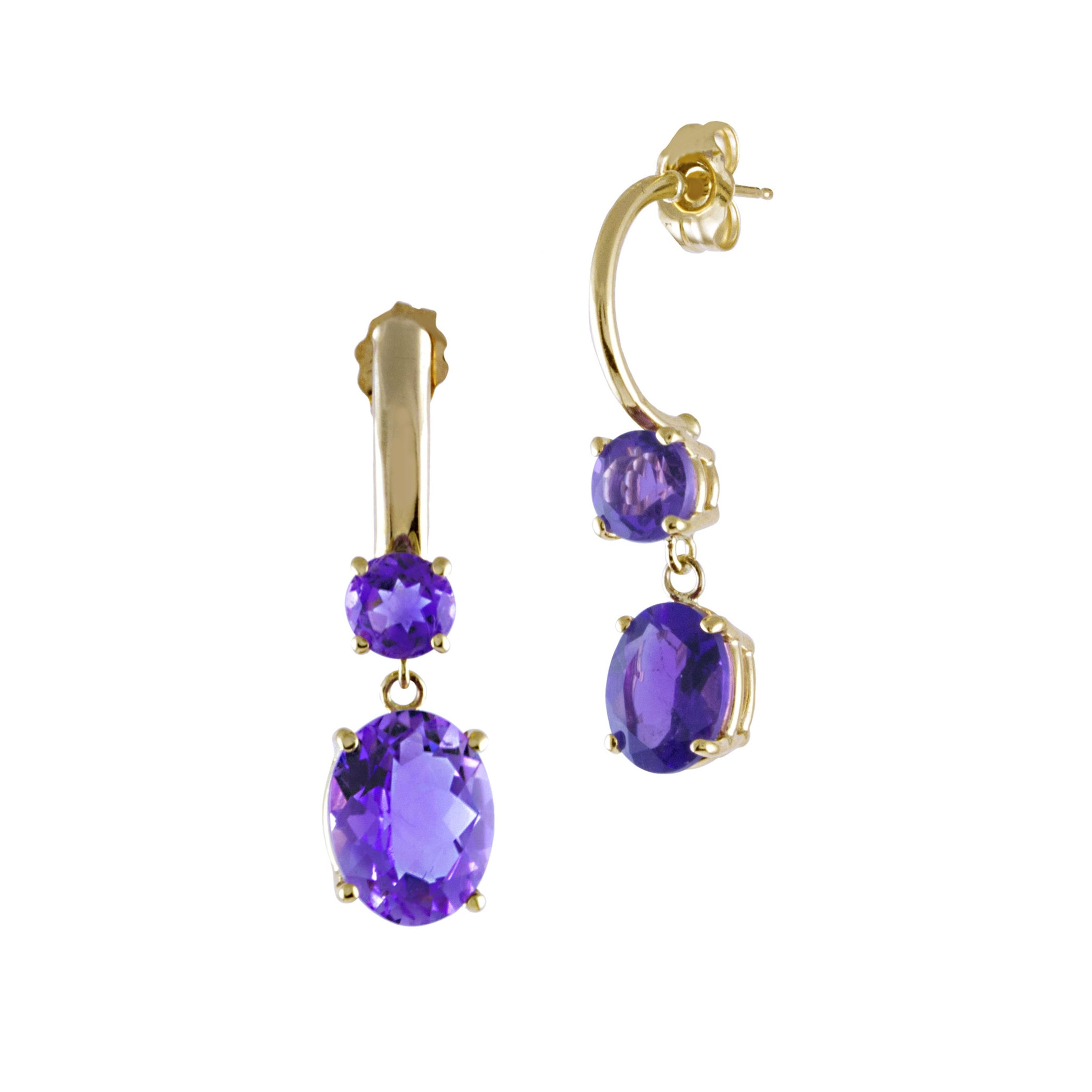 Double Drop Amethyst Dangle Earrings, 14K Yellow Gold