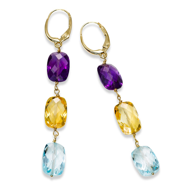 Faceted Multi Gemstone Dangle Earrings, 14K Yellow Gold