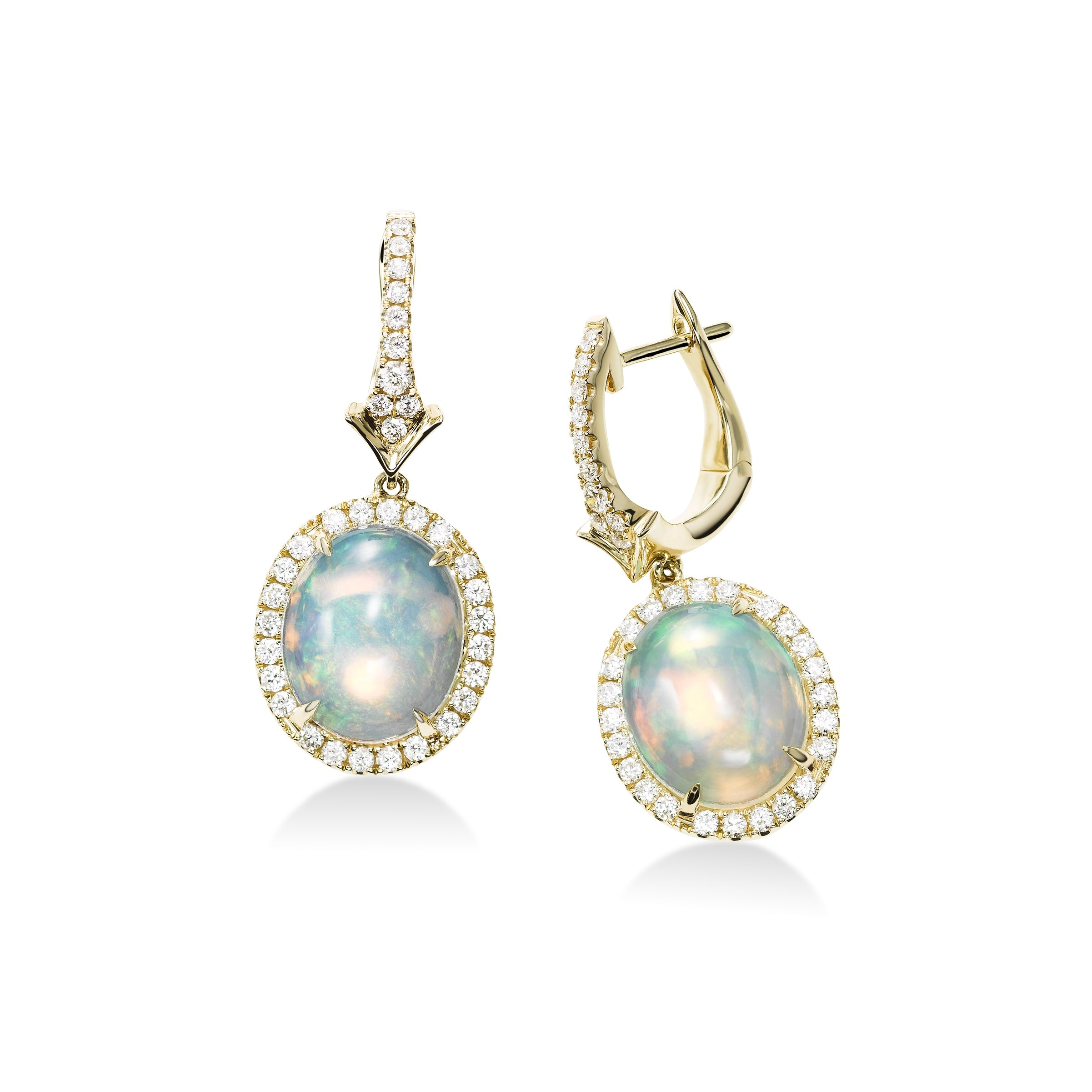 Oval Opal and Diamond Drop Earrings, 14K Yellow Gold