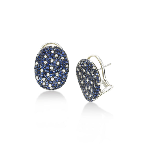Pavé Sapphire and Diamond Saddle Earrings, 18K White Gold