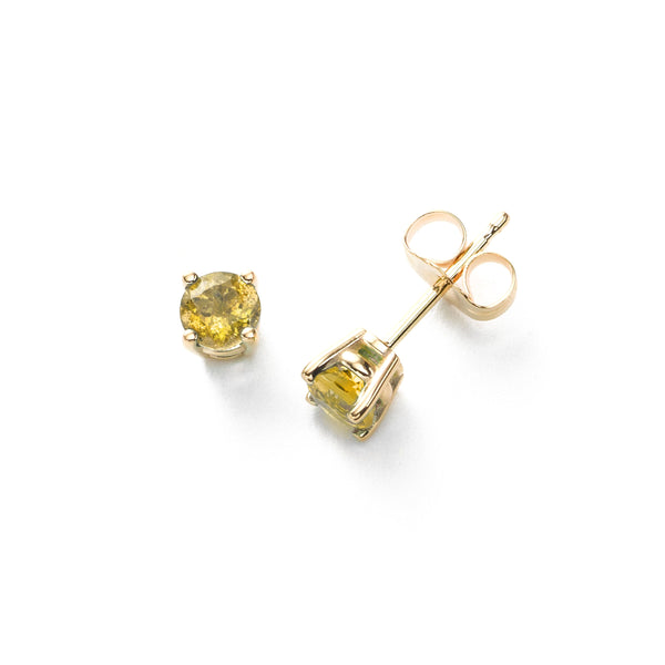 Yellow Sapphire Stud Earrings, 4MM, 14K Yellow Gold
