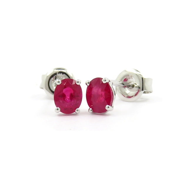 Oval Ruby Stud Earrings, 14K White Gold