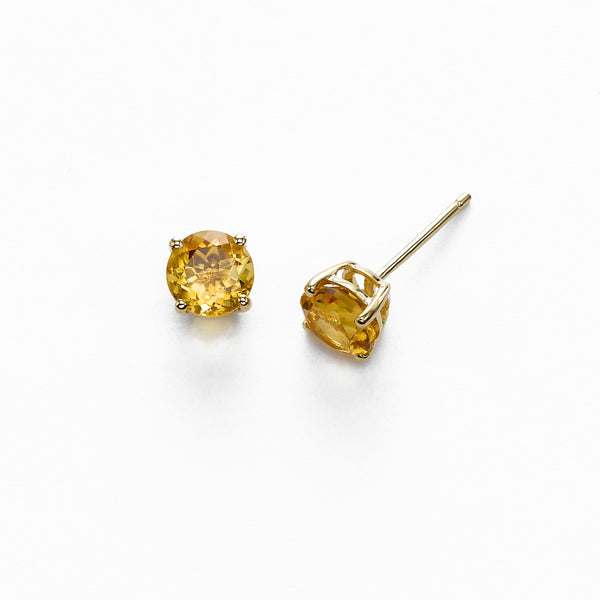 Round Citrine Stud Earrings, 6 MM, 14K Yellow Gold