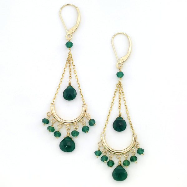 Green Onyx Chandelier Earrings, 14K Yellow Gold