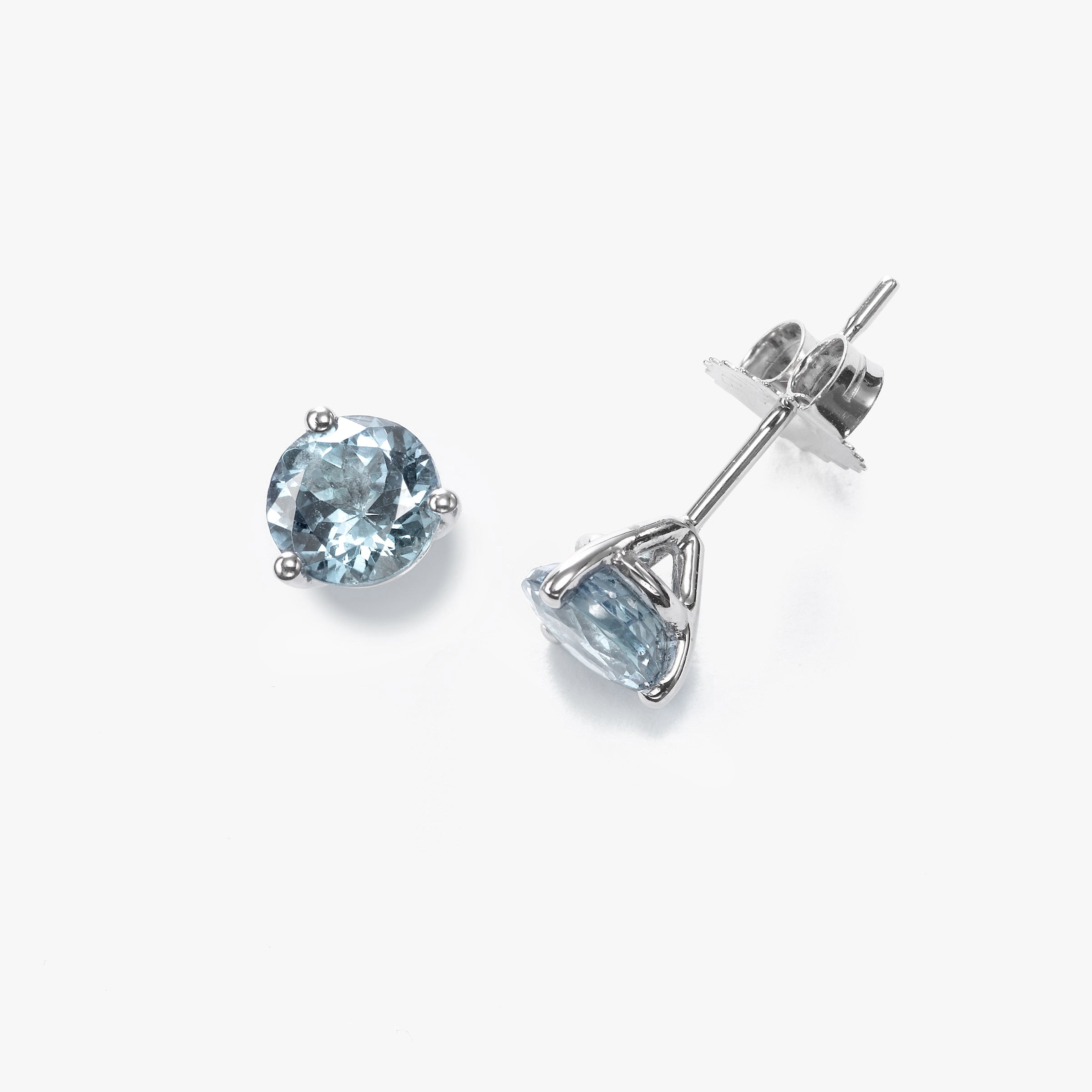 Three Prong Aquamarine Martini Stud Earrings, 14K White Gold