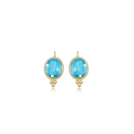 Framed Oval Blue Topaz Earrings, 14K Yellow Gold
