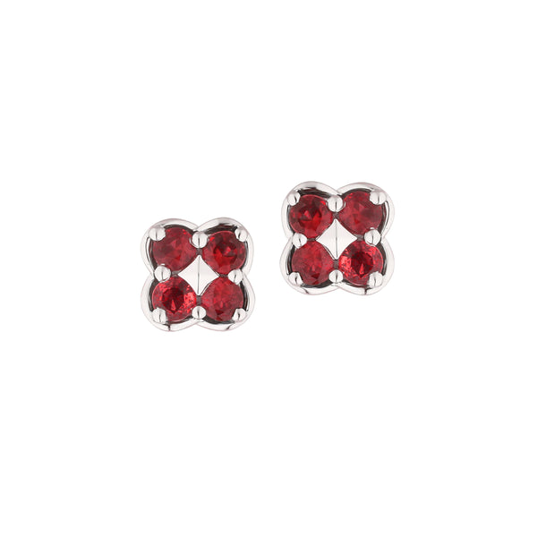 Ruby Button Earrings, 14K White Gold