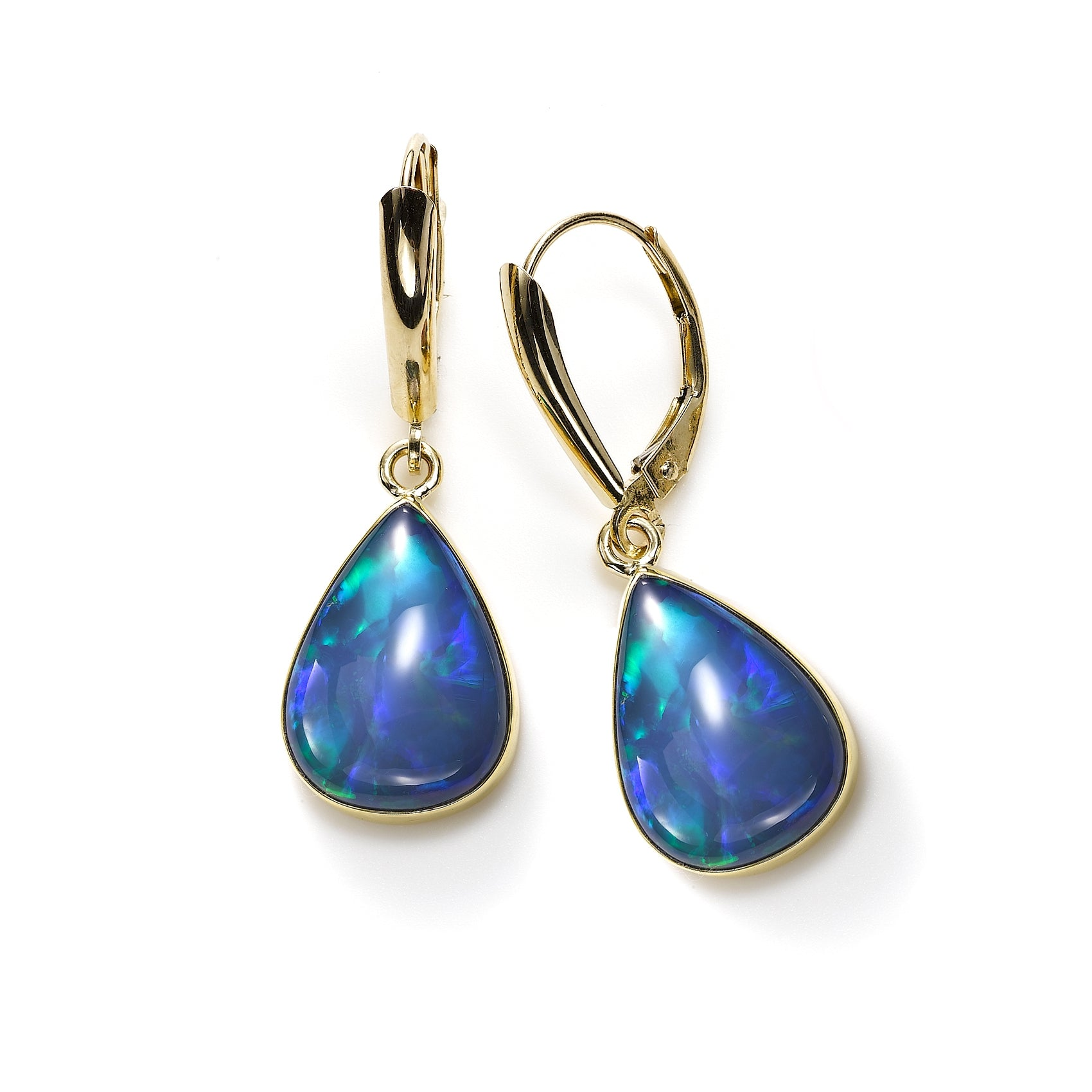 Ethiopian Opal Dangle Earrings, 14K and 22K Yellow Gold