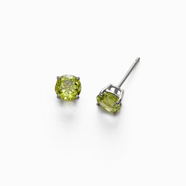 Round Peridot 6MM Stud Earrings, 14K White Gold