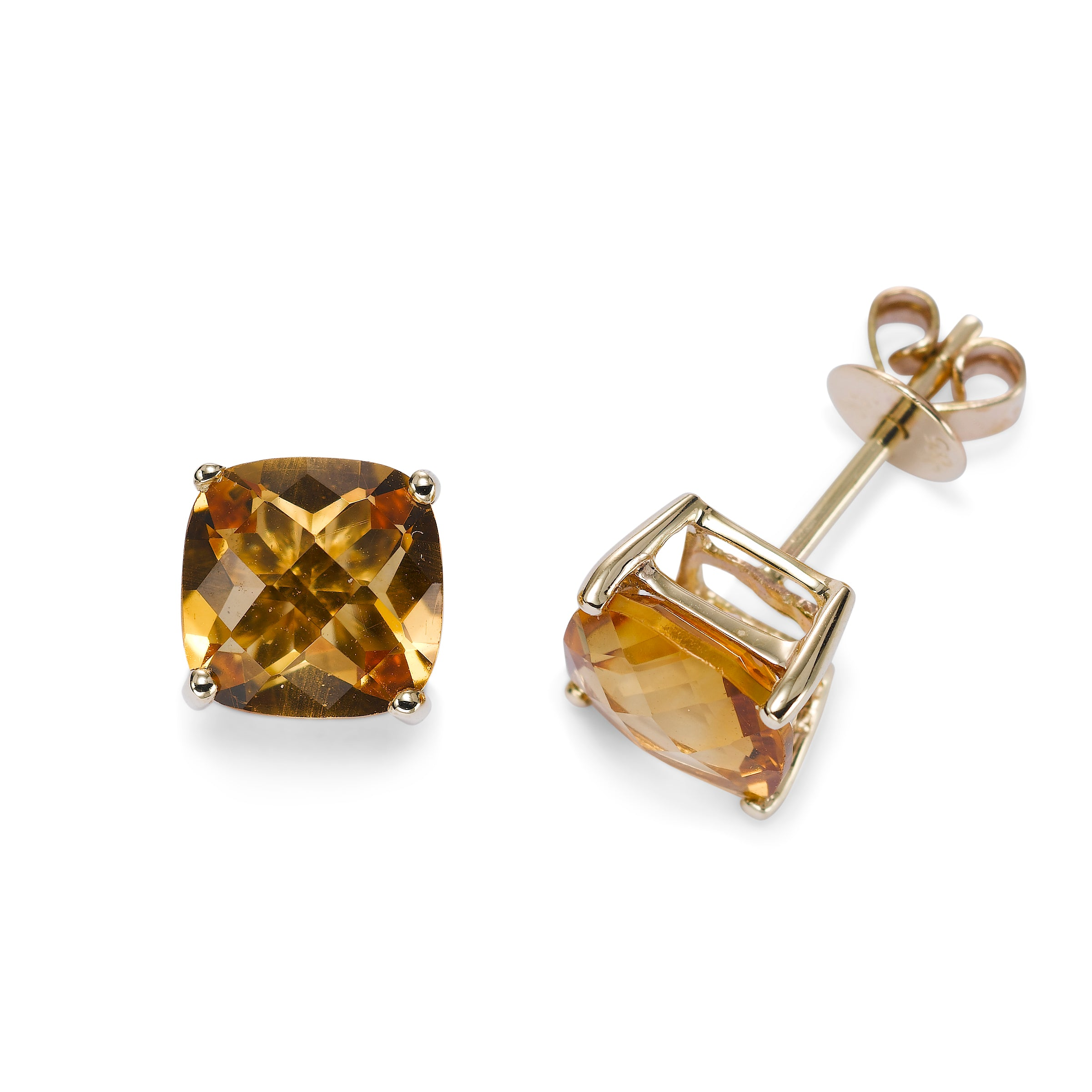 Cushion Cut Citrine Stud Earrings, 14K Yellow Gold