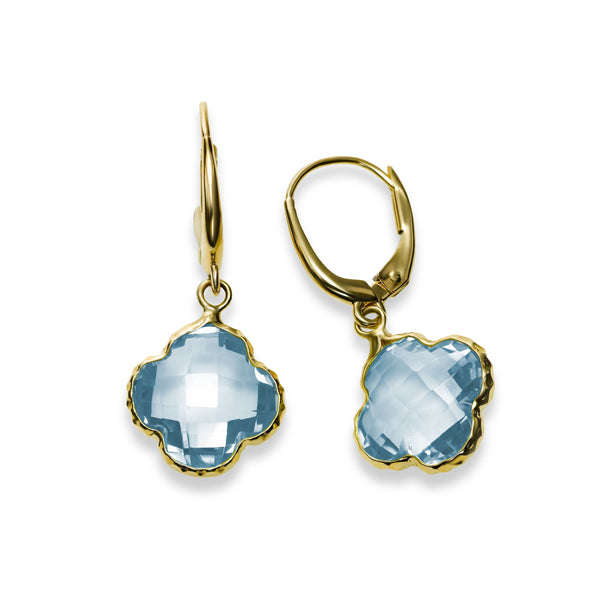 Blue Topaz Clover Shaped Drop Earrings, 14K Yellow Gold