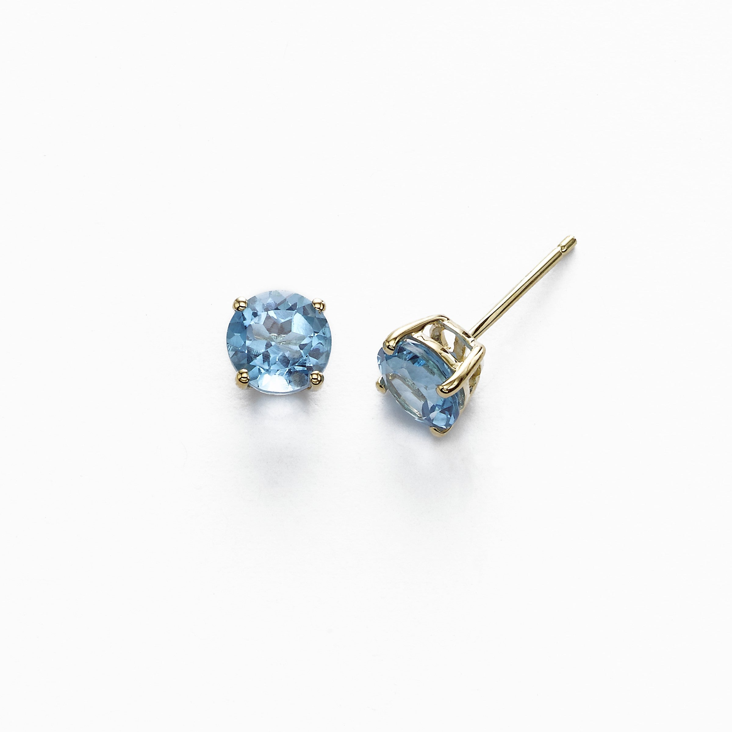 Round Blue Topaz Stud Earrings, 6 MM, 14K Yellow Gold