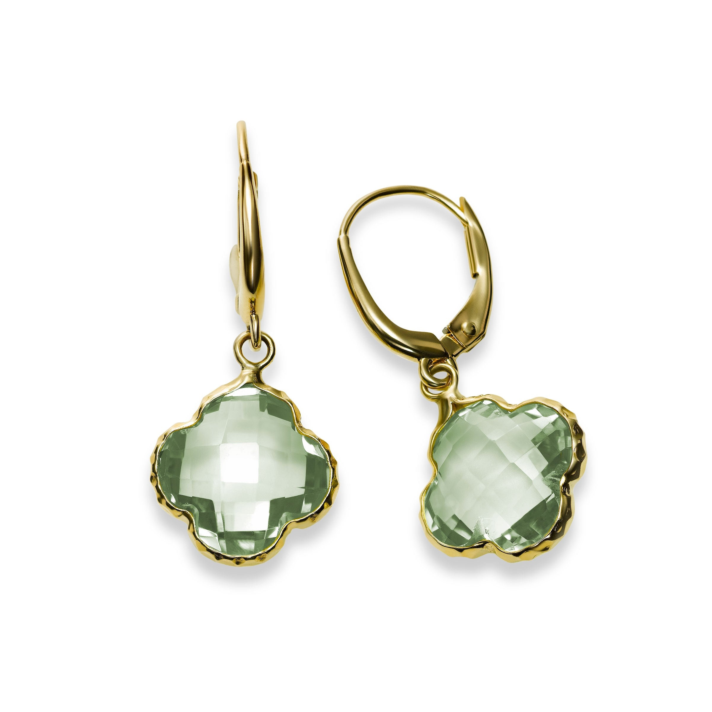 Prasiolite Clover Shaped Drop Earrings, 14K Yellow Gold