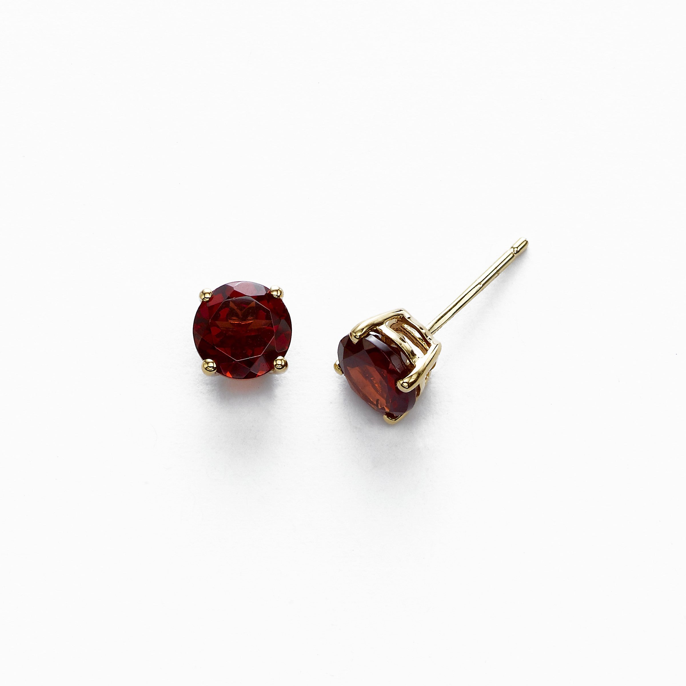 Round Garnet Stud Earrings, 6 MM, 14K Yellow Gold
