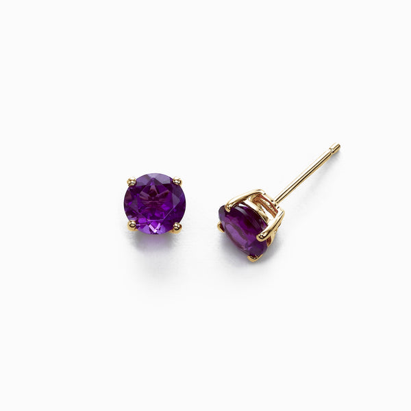 Round Amethyst Stud Earrings, 6MM, 14K Yellow Gold