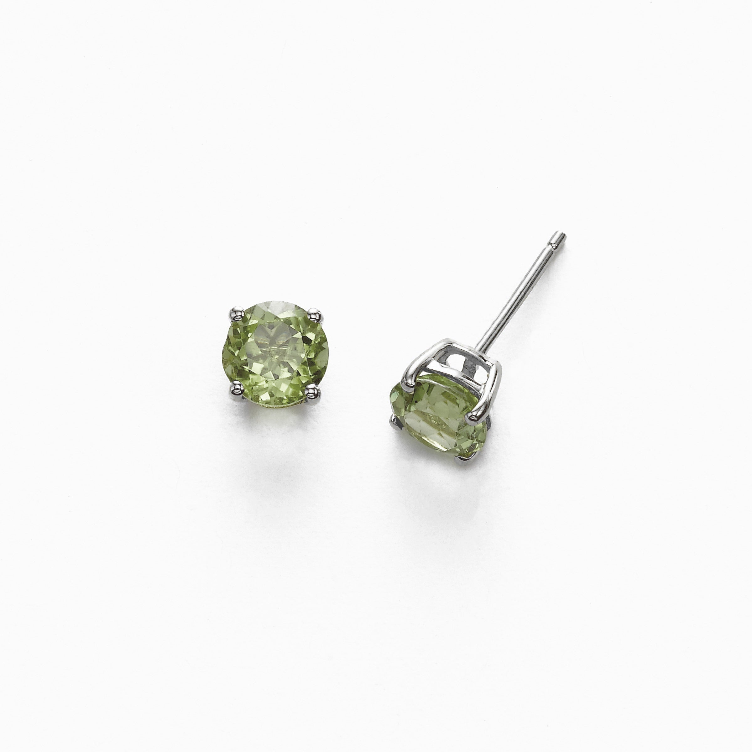 Round Prasiolite 6MM Stud Earrings, 14K White Gold