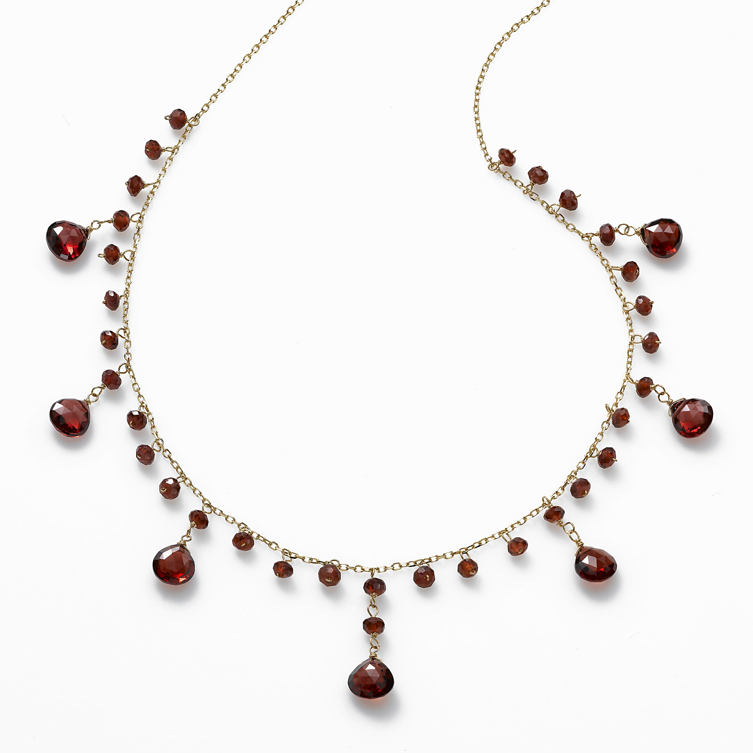 Faceted Garnet Necklace, 14K Yellow Gold
