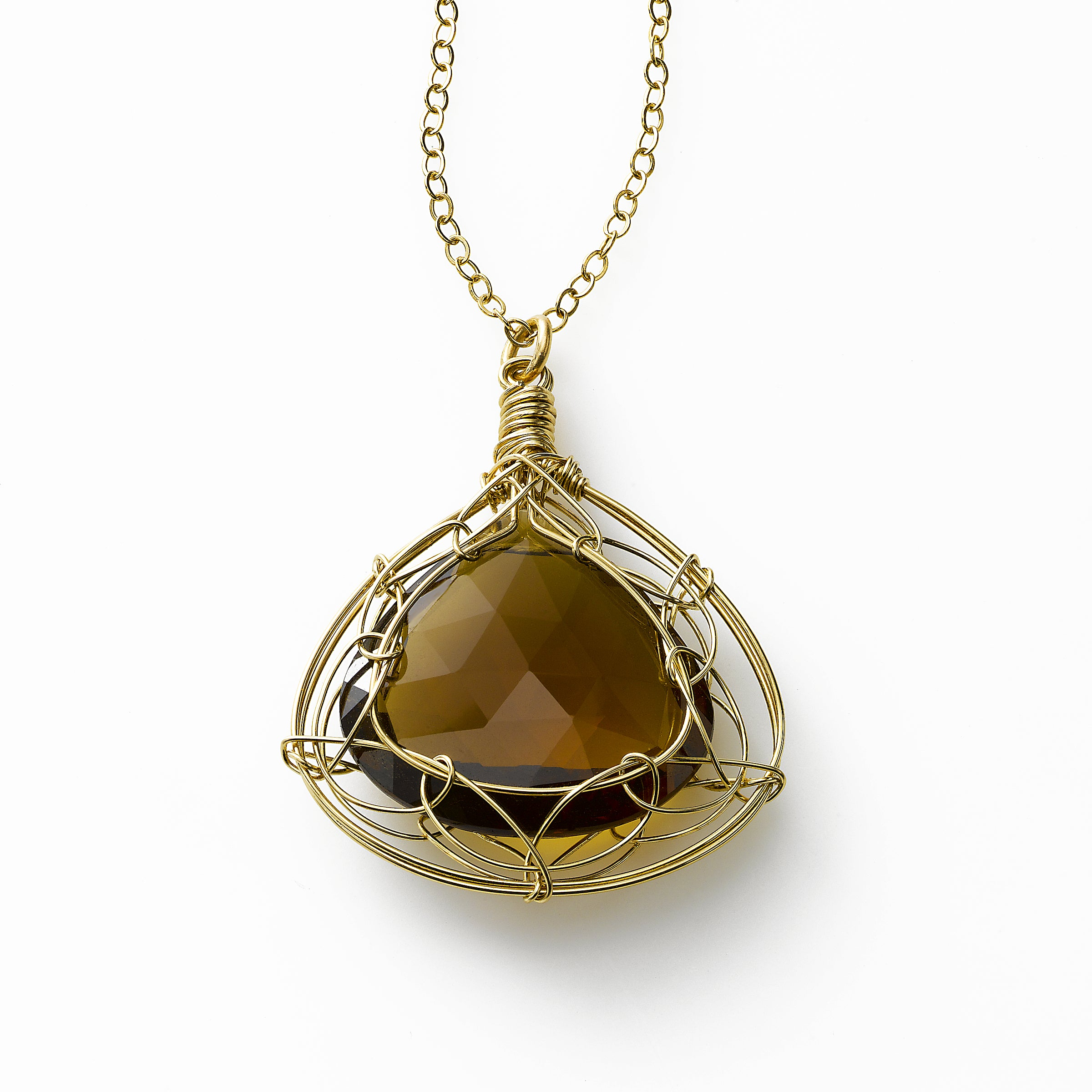 Whiskey Quartz Pendant by Misha of New York, 14K Gold Filled