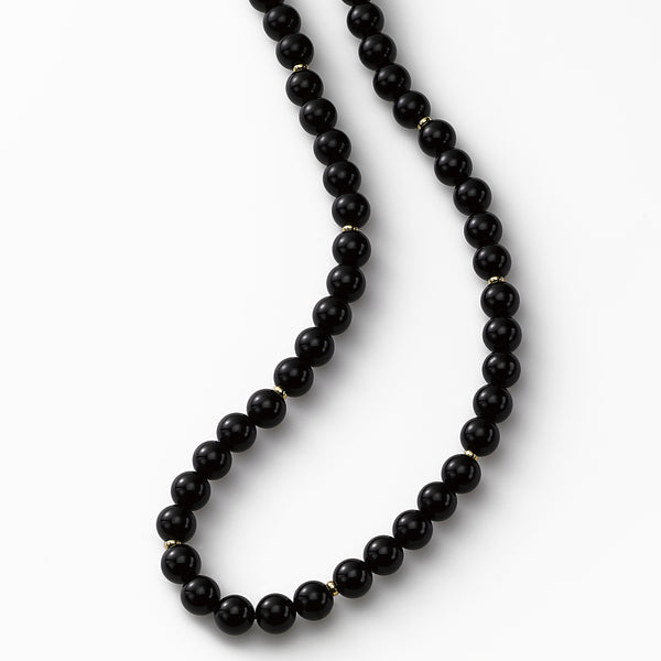 Classic Black Onyx Bead Necklace, 14K Yellow Gold