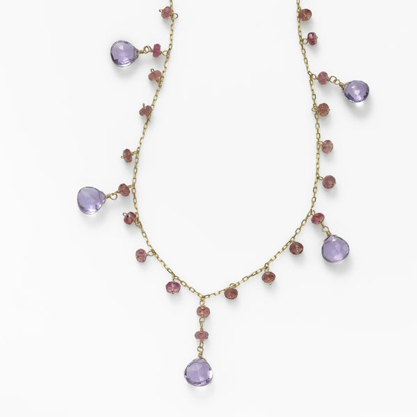 Amethyst and Tourmaline Drop Necklace, 14K Yellow Gold, 18 Inches