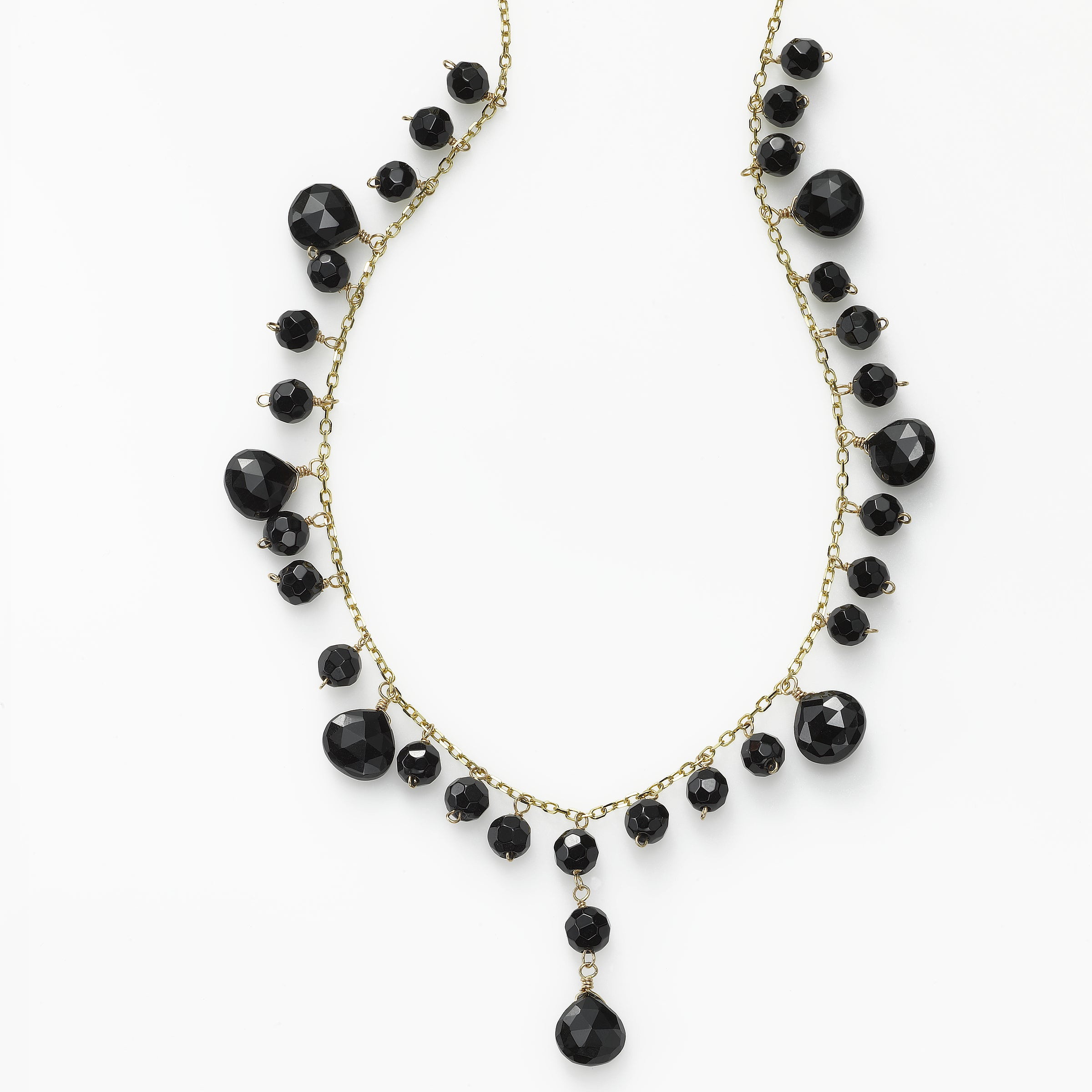 Black Onyx Drop Necklace, 14 Karat Yellow Gold, 16 Inches