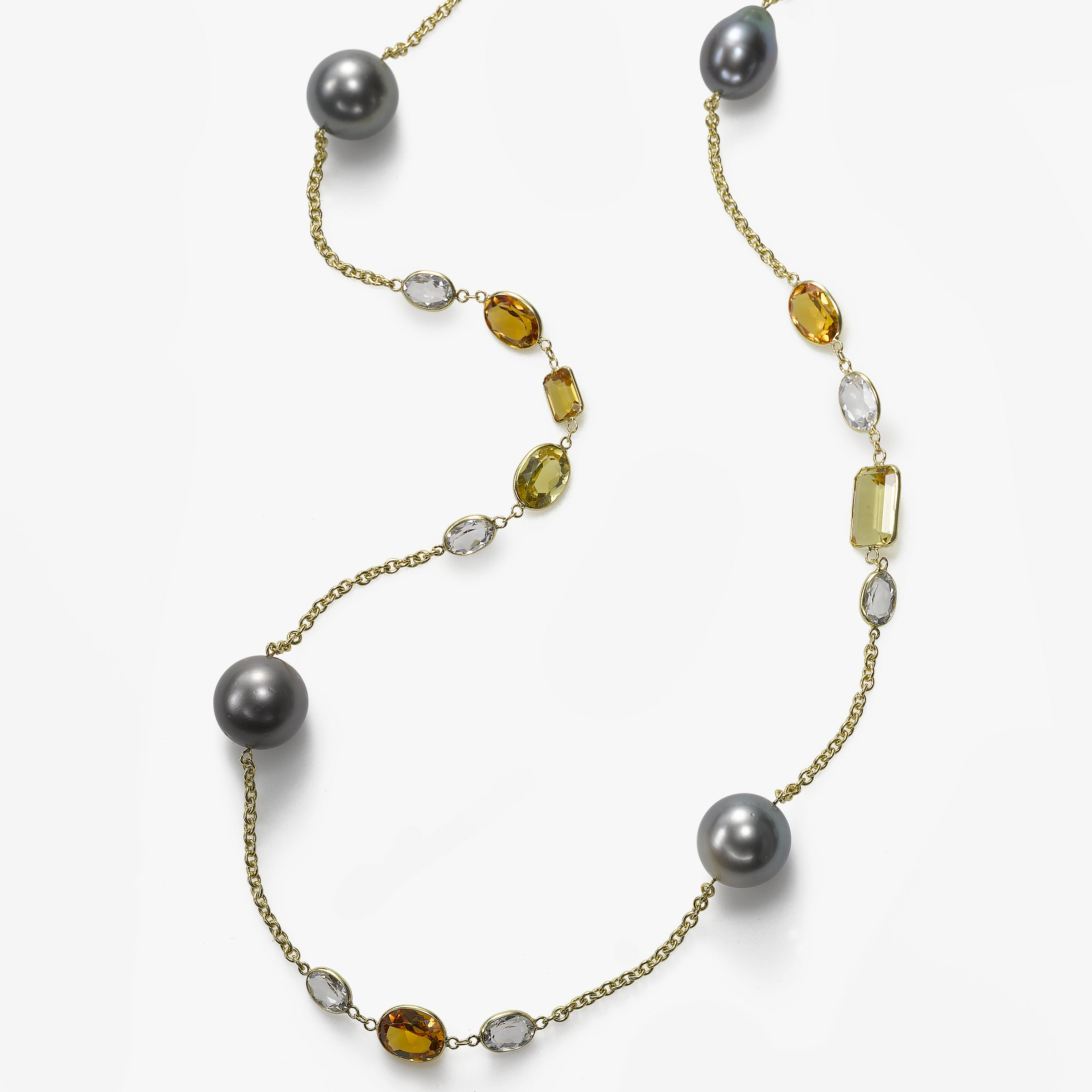 Tahitian Cultured Pearl, Yellow Tourmaline and Multistone Necklace, 18KY, 35 Inch
