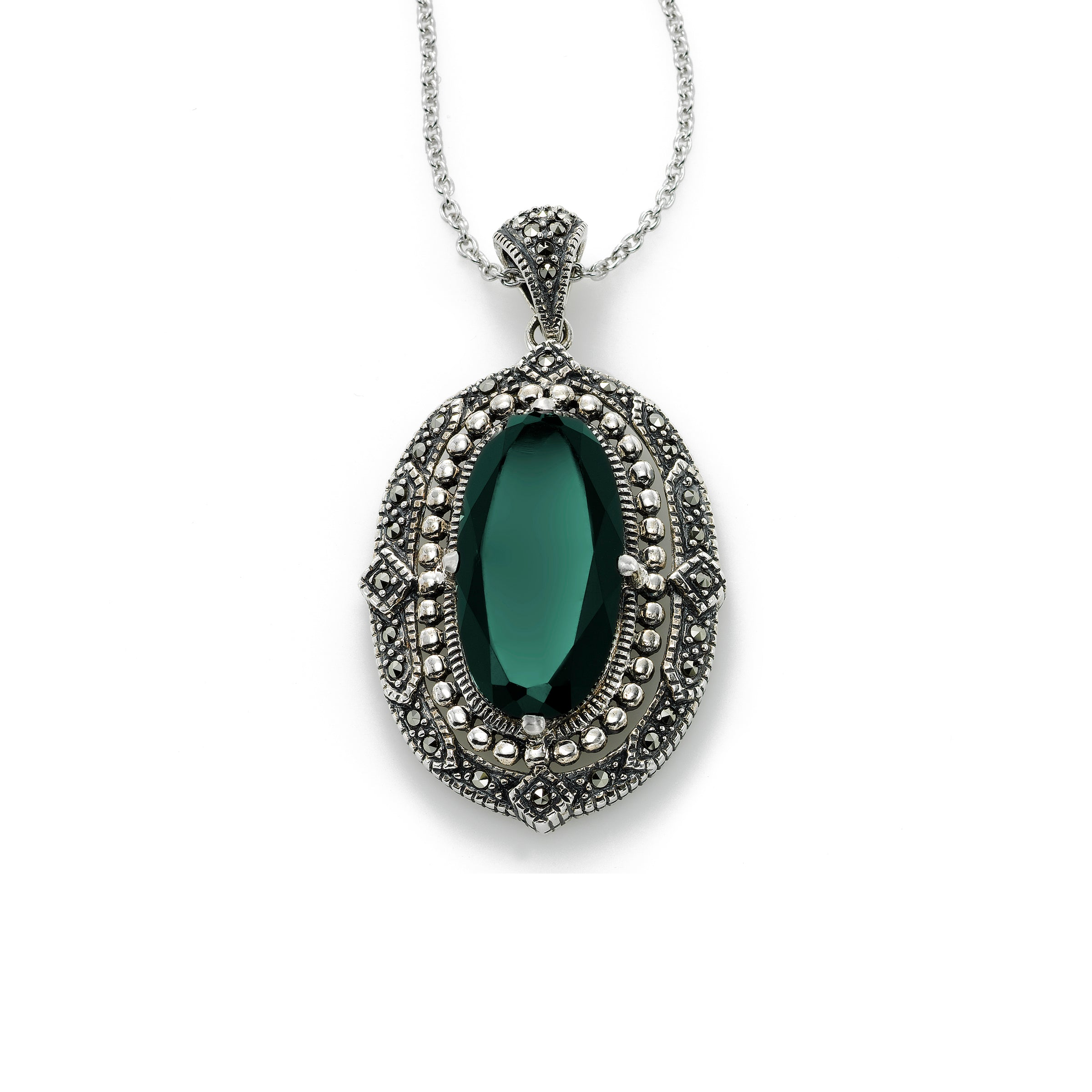 Swarovski Marcasite Pendant with Green Agate, Sterling Silver