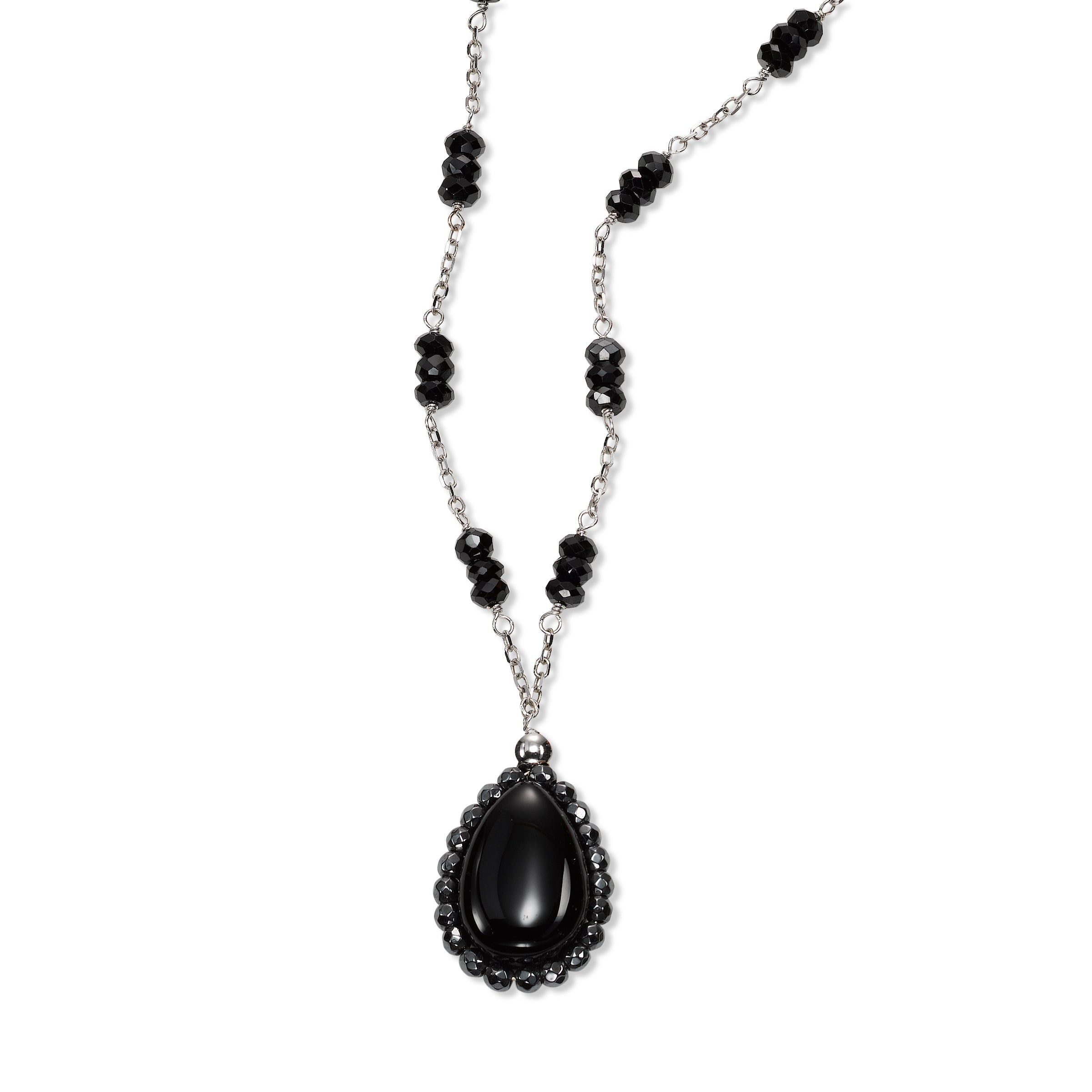 Black Onyx and Hematite Drop Necklace, 14K White Gold