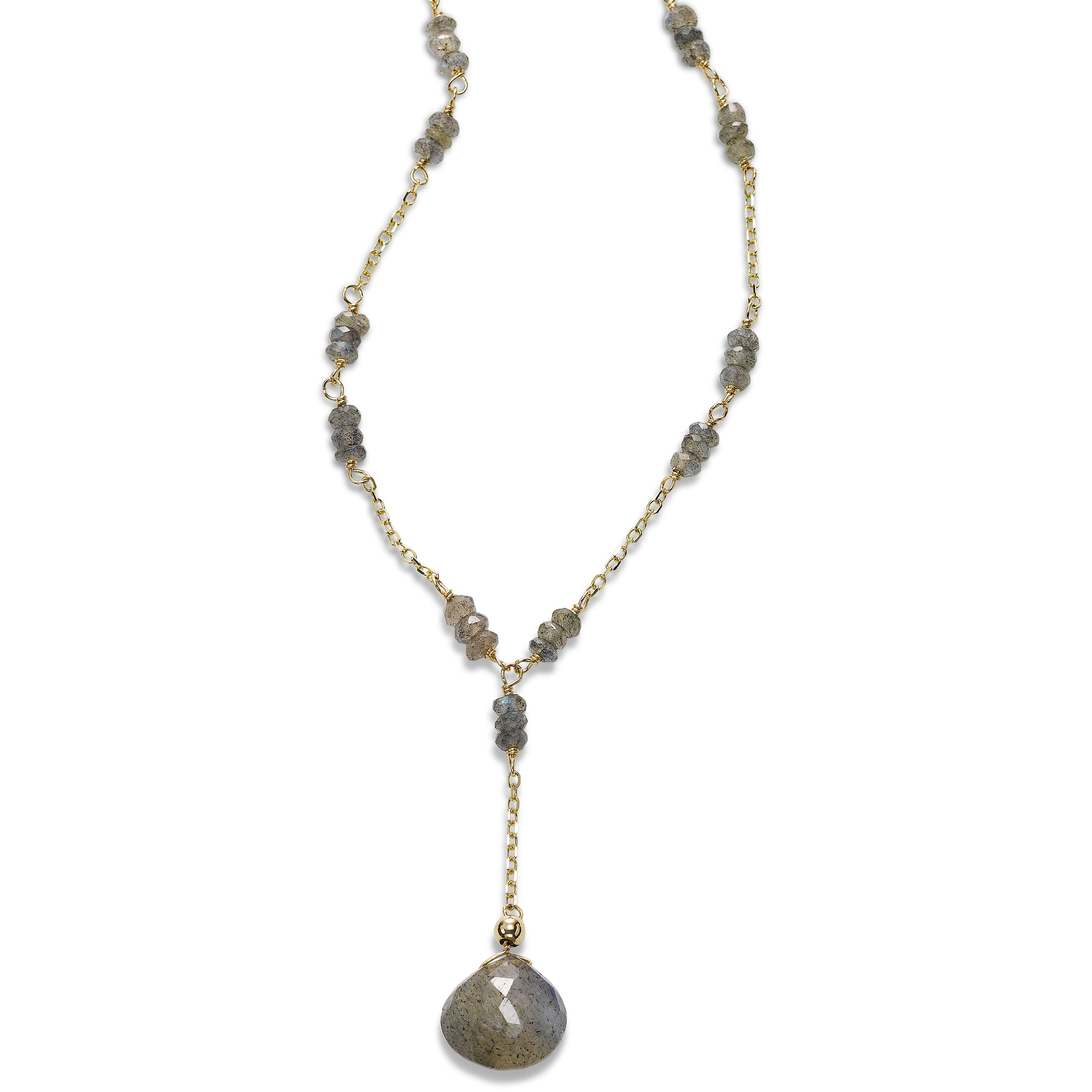 Labradorite Drop Necklace, 14 Karat Yellow Gold