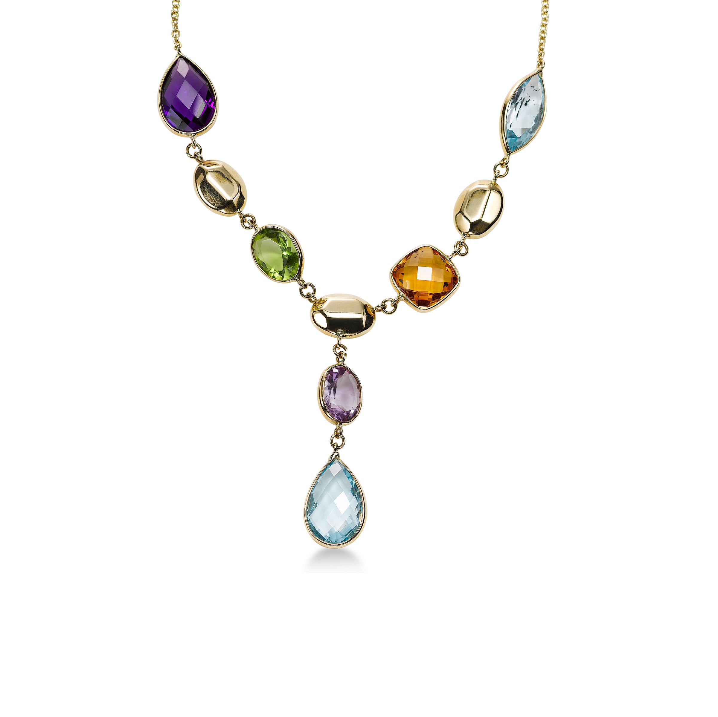 Multi Gemstone 'Y' Necklace, 14K Yellow Gold