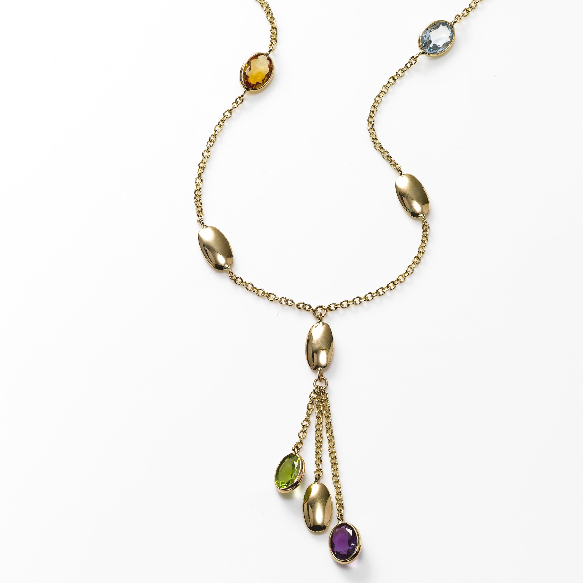 Multi Color Gemstone 'Y' Necklace, 14K Yellow Gold