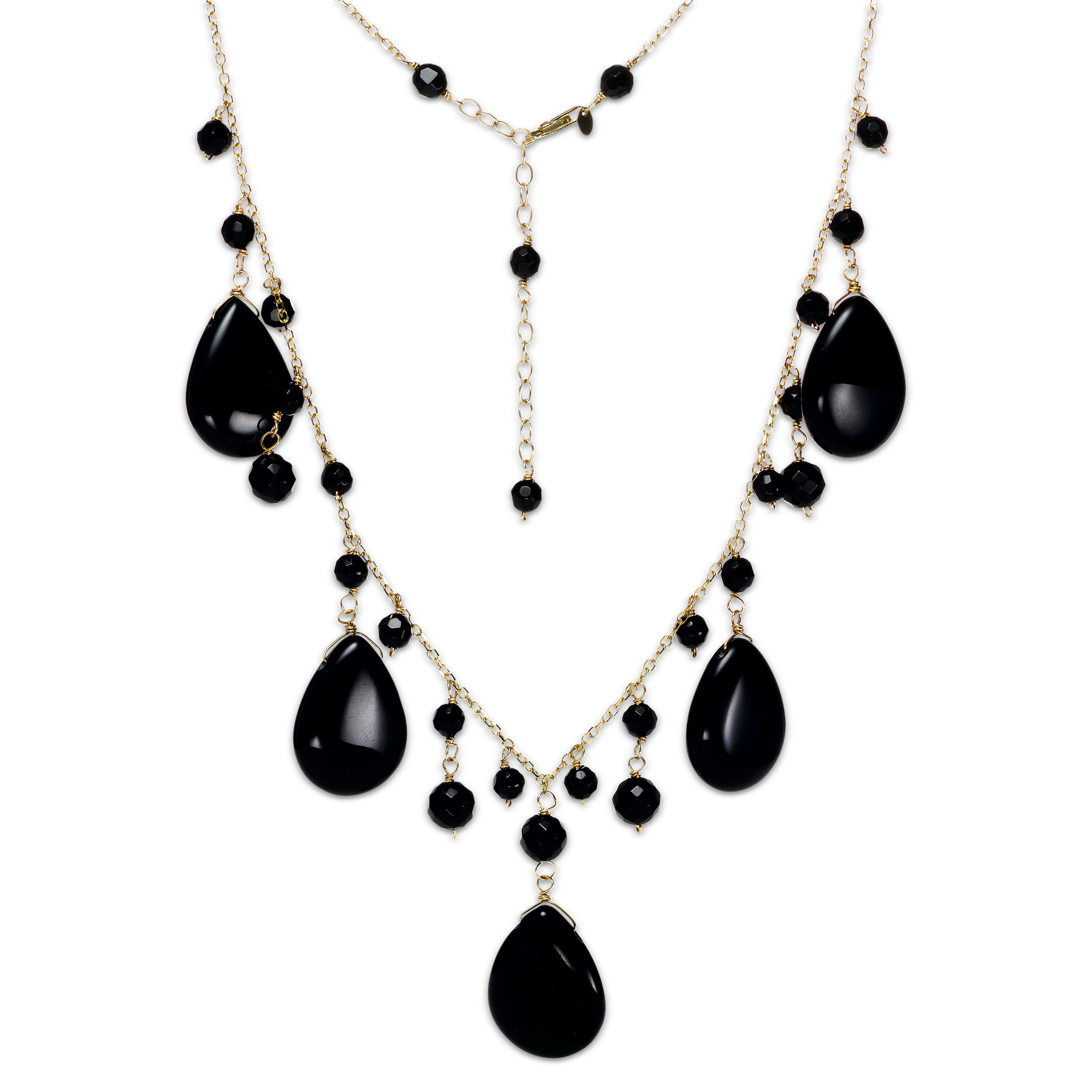 Black Onyx Drop Necklace, 14K Yellow Gold