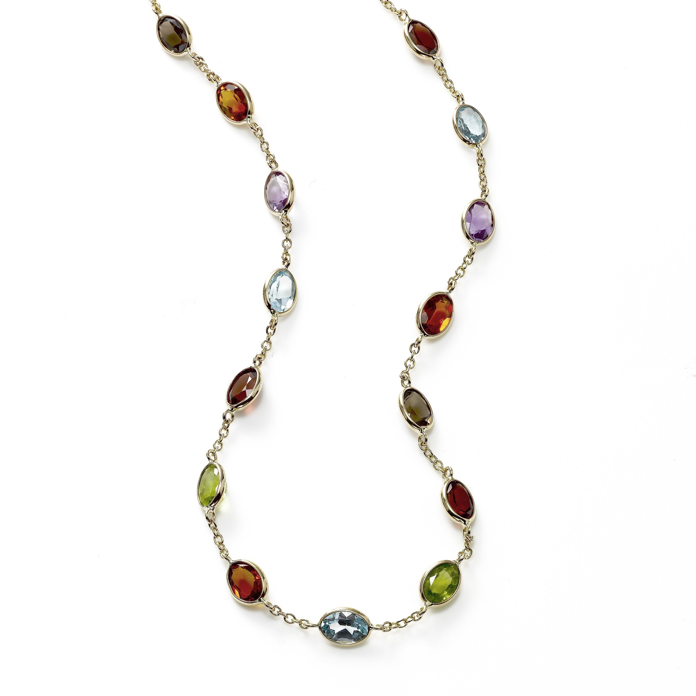 Multi Color Gemstone Necklace, 14K Yellow Gold