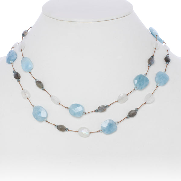 Aquamarine and Gemstone Necklace, 35 Inches, Sterling Silver