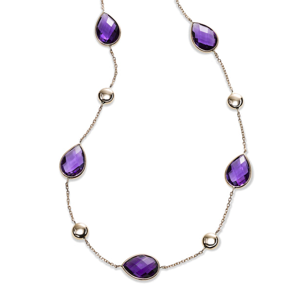 Pear Shaped Amethyst and Bead Station Necklace, 14K Rose Gold
