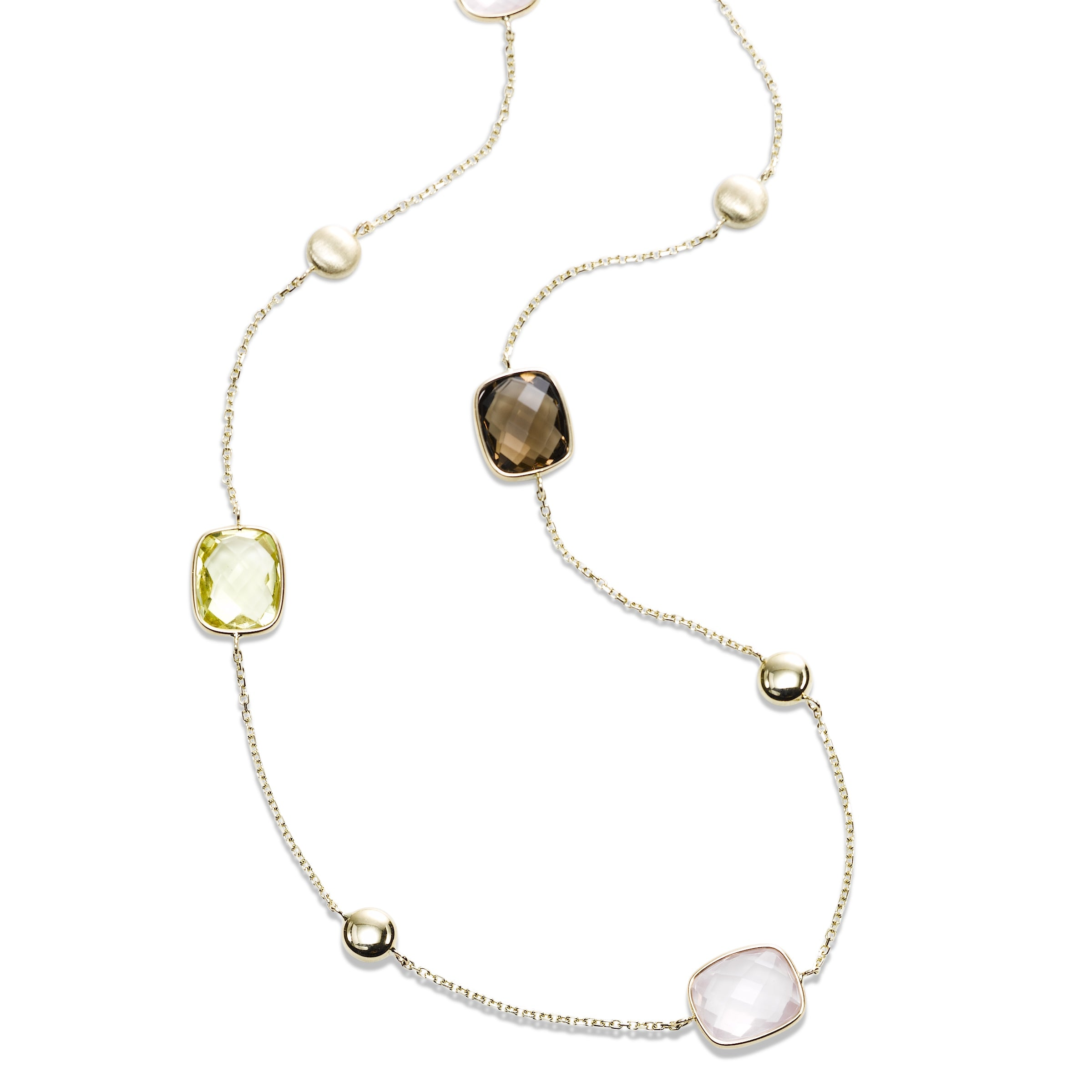 Multi Stone Cushion Shape Station Necklace, 36 Inches, 14K Yellow Gold