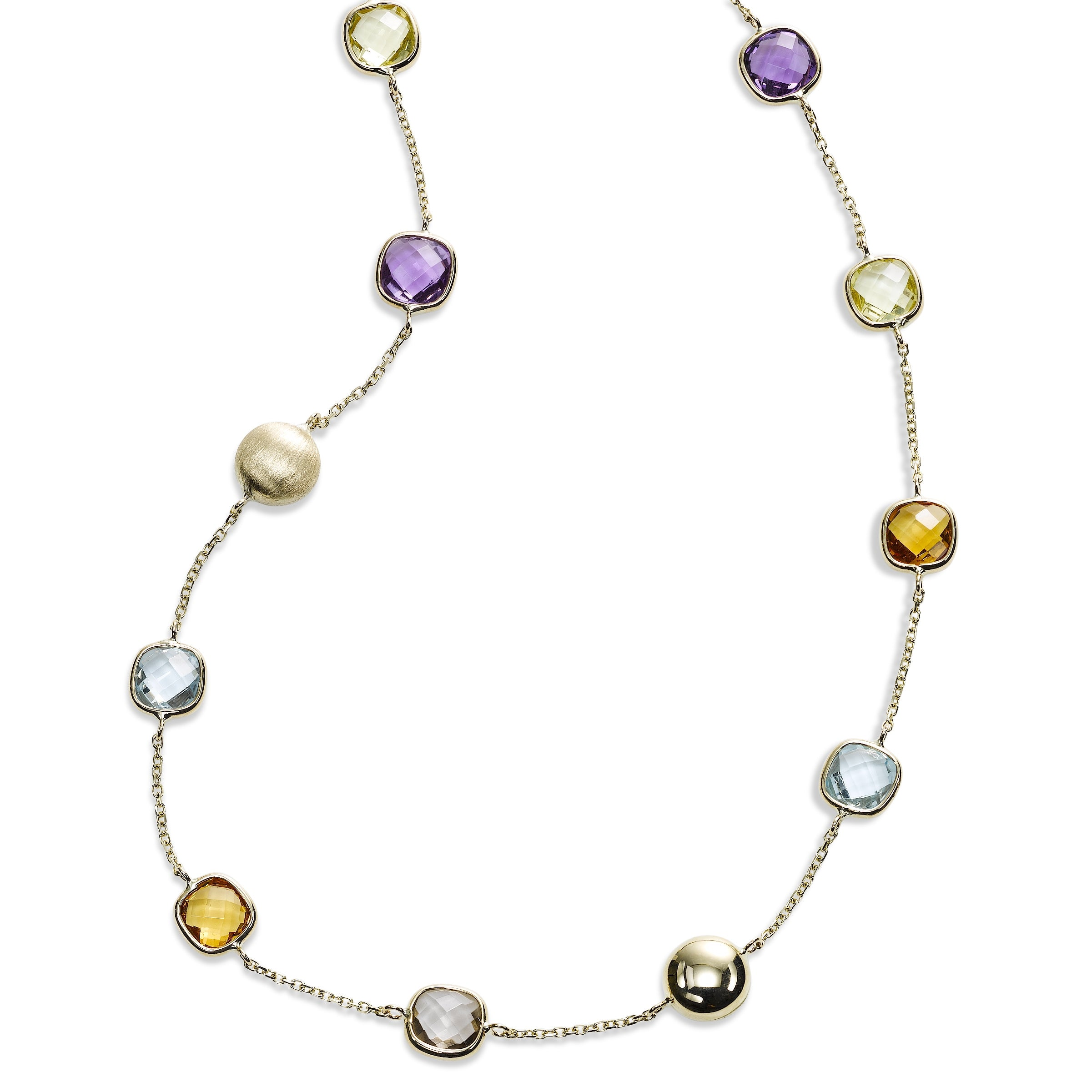 Multi Stone Cushion Shape Station Necklace, 14K Yellow Gold