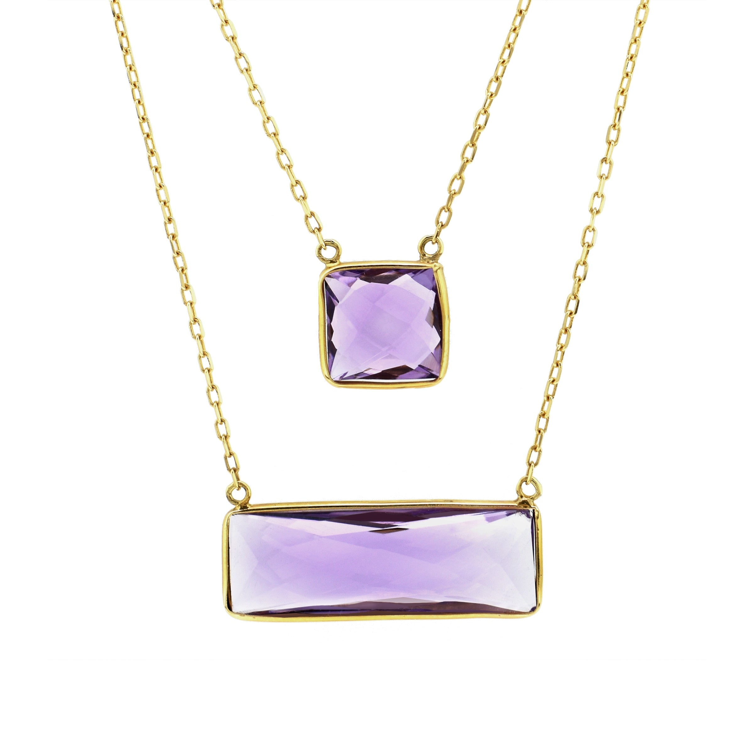 Two Tier Amethyst Necklace, 14K Yellow Gold