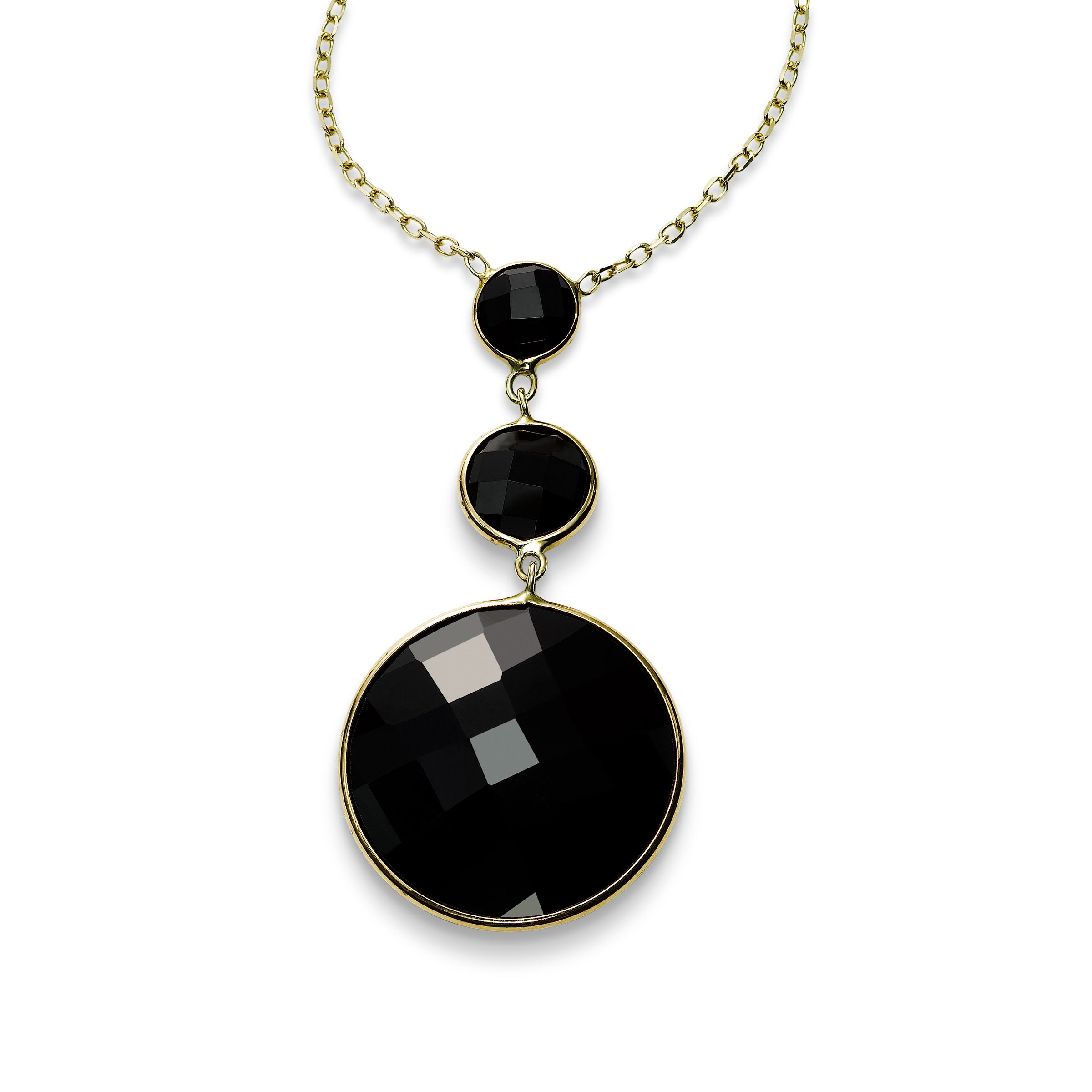 Graduated Black Onyx Drop Necklace, 14K Yellow Gold