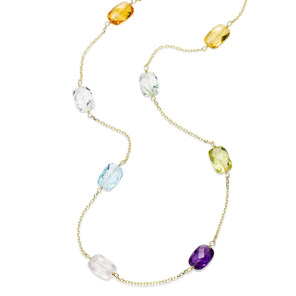 Faceted Multi Stone Station Necklace, 36 Inches, 14K Yellow Gold