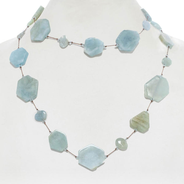 Hexagon Shape Aquamarine Necklace, 35 Inches, Sterling Silver