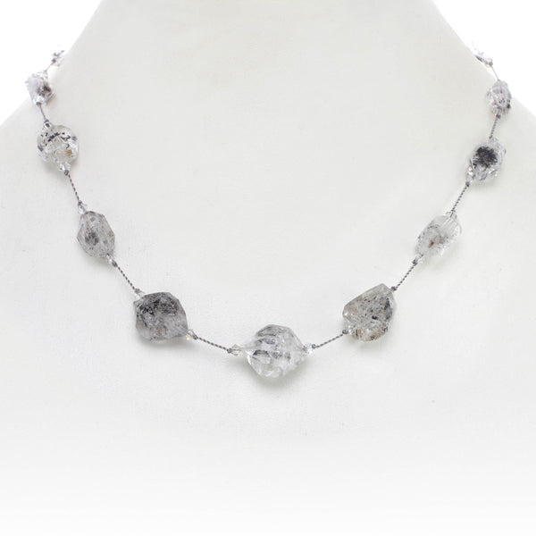 "Faceted ""Herkimer Diamond"" Necklace, 17 Inches, Sterling Silver"