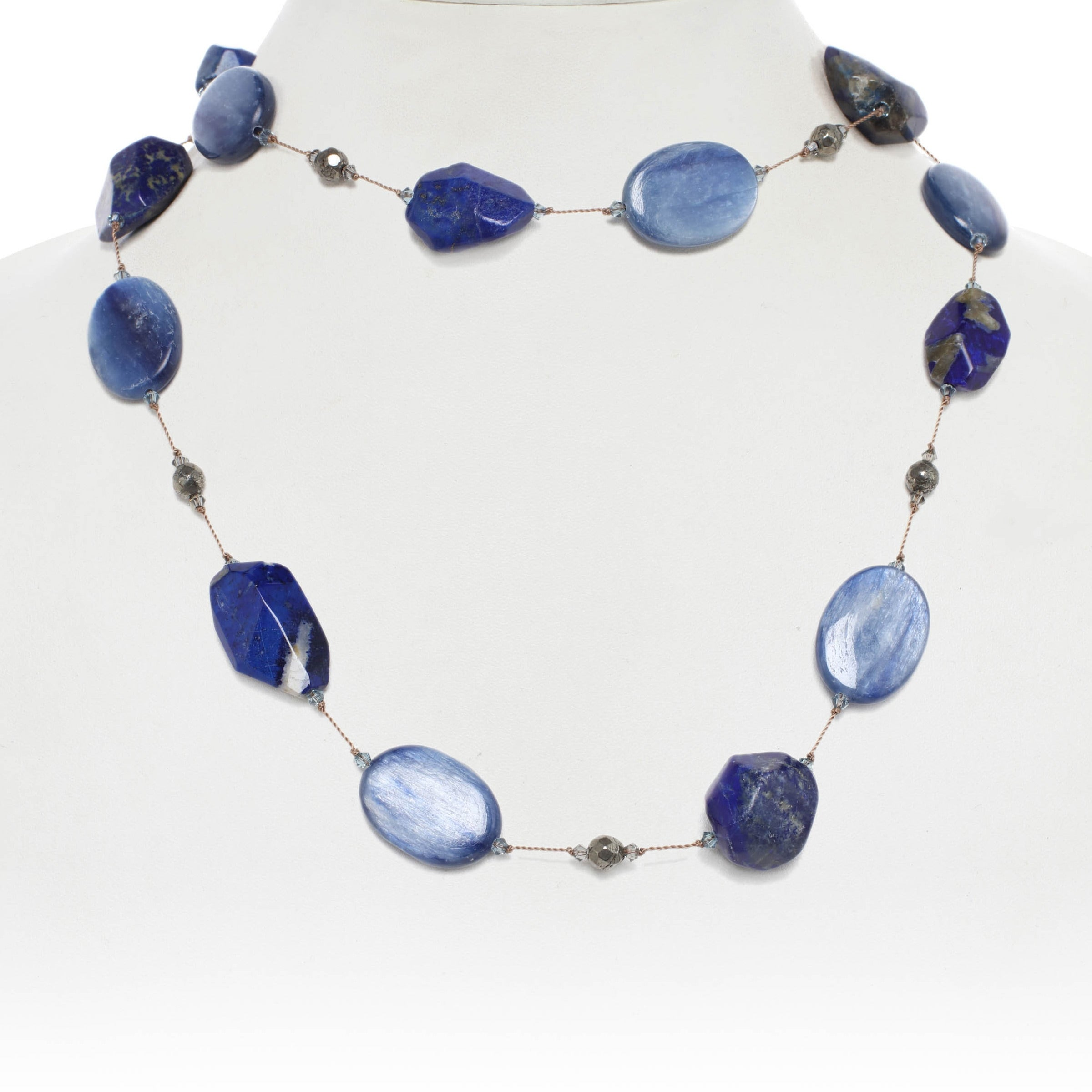 Blue Tone Multi Gemstone Necklace, 35 Inches, Sterling Silver
