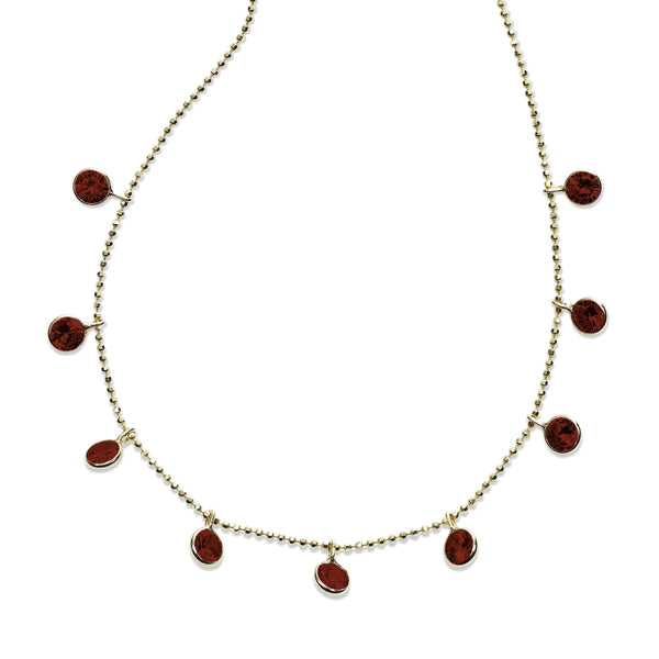 Bezel Set Garnet Drop Necklace, 18 Inches, 14K Yellow Gold