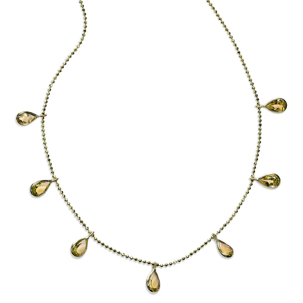 Pear Shaped Citrine Drop Necklace, 18 Inches, 14K Yellow Gold