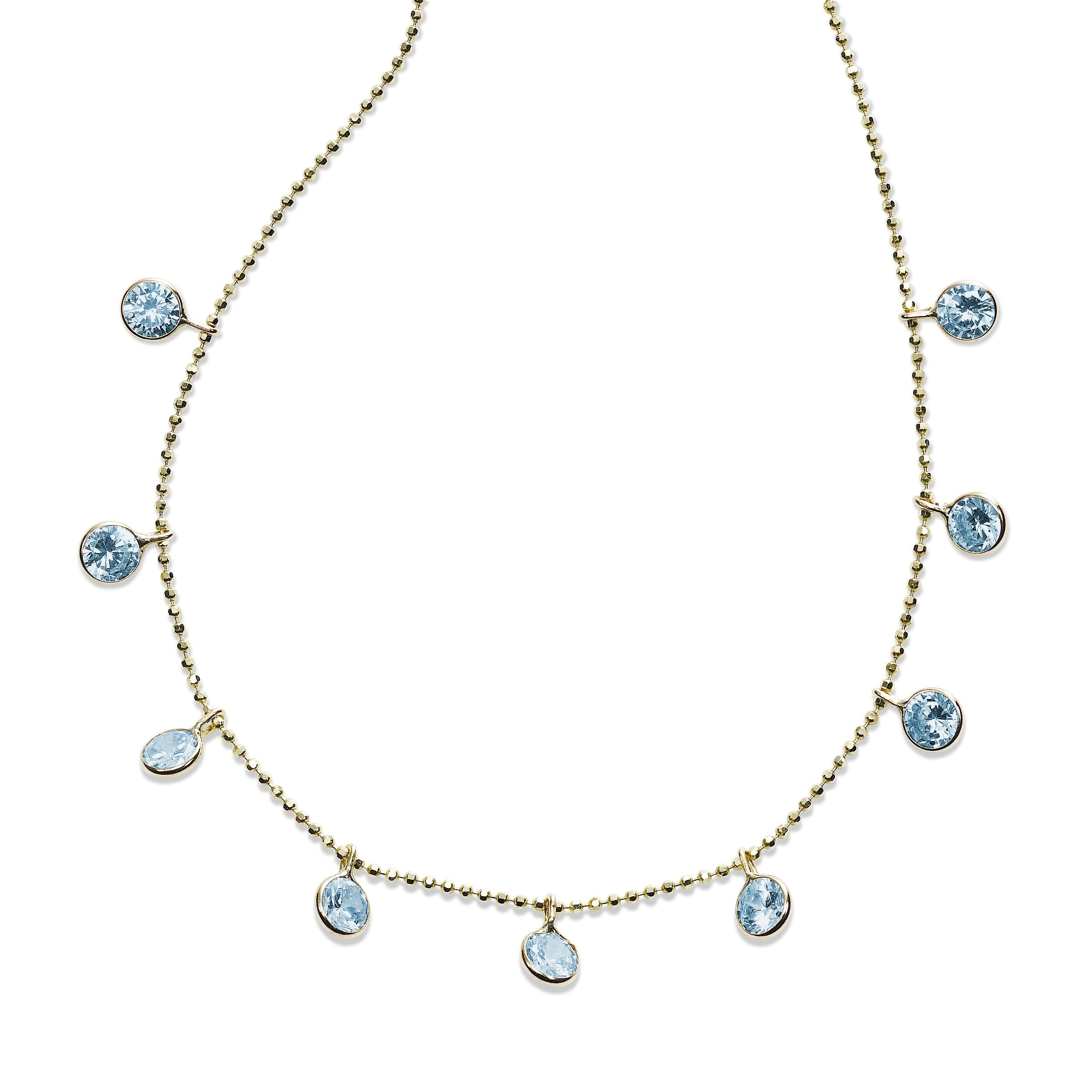 Bezel Set Blue Topaz Drop Necklace, 18 Inches, 14K Yellow Gold
