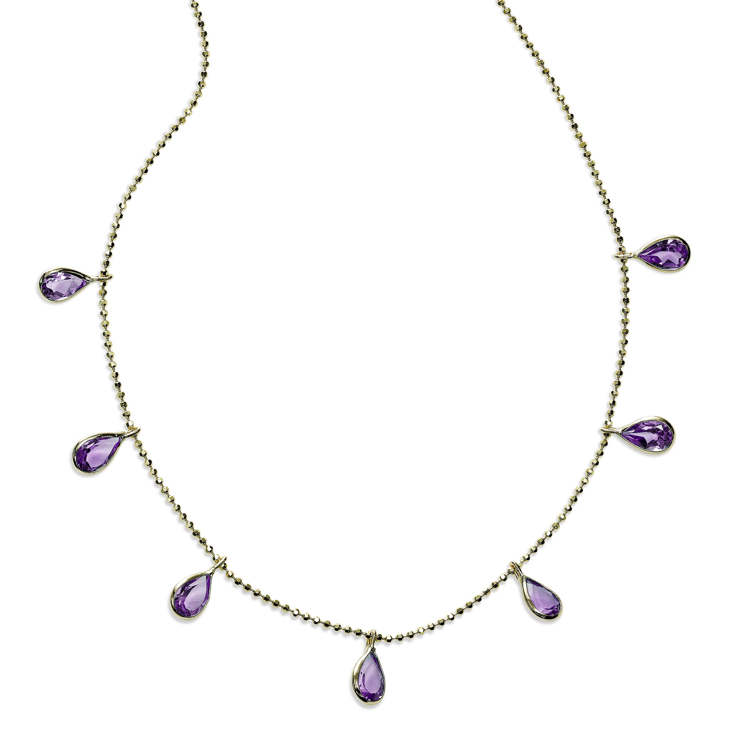 Pear Shaped Amethyst Drop Necklace, 18 Inches, 14K Yellow Gold